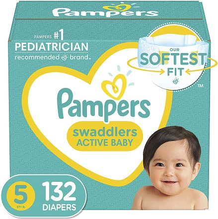 pampers swaddlers size 5 132 diapers. Buy it on amazon