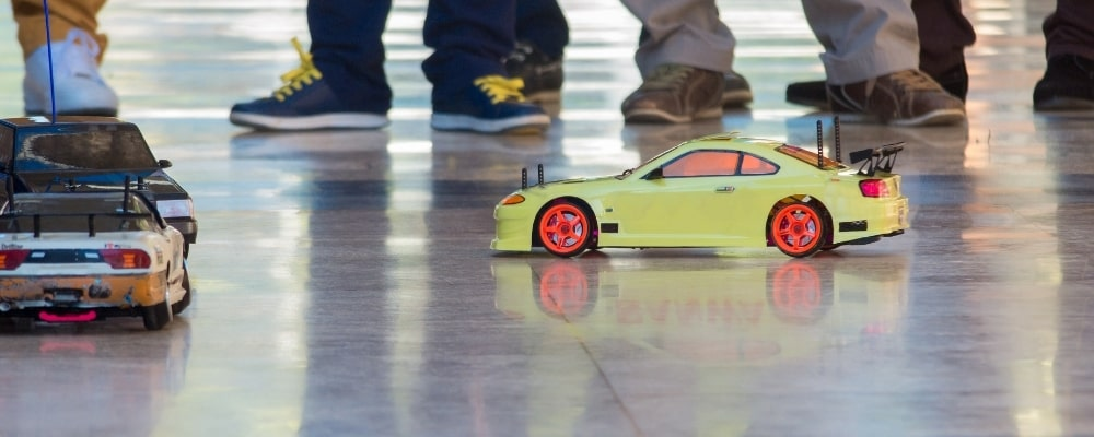 People racing with RC Drift Cars
